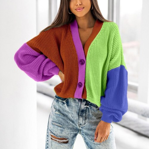 Sexy V Neck Button Women's Cardigan Tops Casual Colorful Patchwork Loose Knit Sweater Autumn Winter Long Sleeve Knitted Sweaters