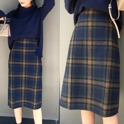Korean Fashion Casual Women Autumn Winter Vintage Blue/Gray Plaid High Waist Warm Faux Woolen A-line Skirt Plus Size S-2XL