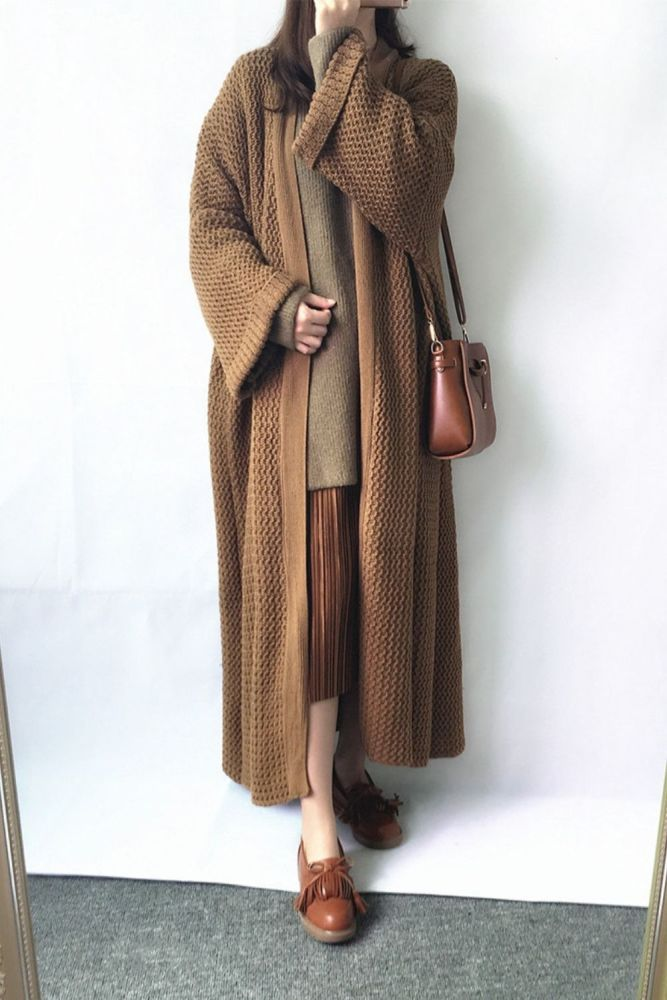 Loose Long Knitted Cardigan Lazy Wind Over The Knee Thick Line Plus Size Sweater Coat Women Thick