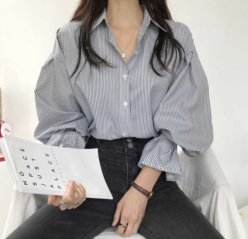 Vintage Striped Oversize Women's Blouse Spring Summer Fashion Lantern Sleeve Buttons Loose Female Shirts Tops 2021 New
