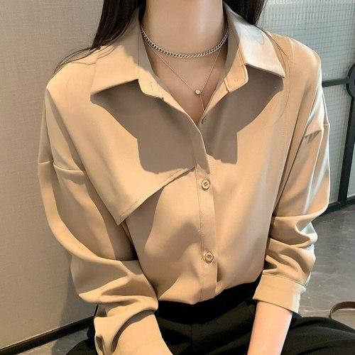 French Light Mature Long Sleeve Shirt Women's Fall 2021 New Design Feeling Loose Folding Temperament Bottomed Shirt Women