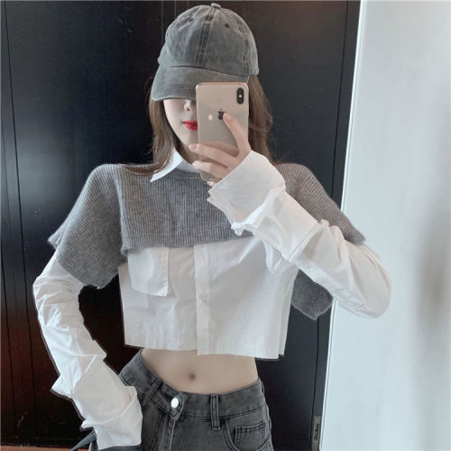 Woman Sweaters Pullover Small Shawl Women's Autumn Short Round Neck Gas Sexy Top Outerwear Knitwear Femme Chandails