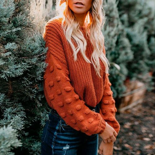 Puff Sleeve Sweater Knitted Women O-neck Loose Casual Ladies Sweaters 2021 Autumn Warm Korean Fashion Crop Top Ladies Pullover