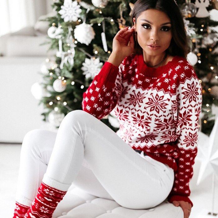 2021 fashion woman Christmas Sweater ladies knitting sweater snowflake Sweater Pullover Autumn Winter Long sleeves