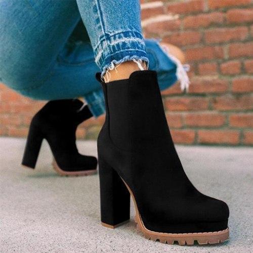 Women's Ankle Boots High Heels Platform Female Lace Up Women Shoes Buckle Woman Short Boot New Botas Femininas Plus Size