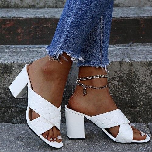 Summer Women Sandals Summer Fashion Slippers Lightweight Casual Sandals New Plaid Shallow Heel Women's Single Shoes