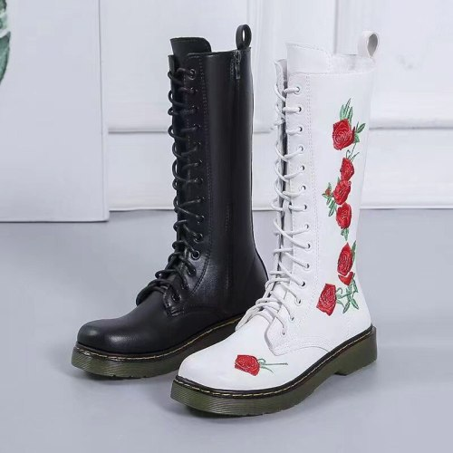 Spring Autumn Women Boots National Style Middle Tube Cortex Low-heeled Casual Martin Boots Fashion Embroidered Women's Shoes
