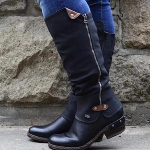 Winter Women's Vintage Mid Calf Boots Ladies PU Leather Zip Shoes Female Sewing Casual Low Heels Woman Soft Footwear Plus Size
