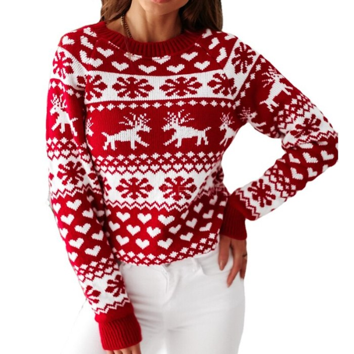 Women's Christmas Sweater 2021 Fall/Winter Women's Knitted Pullover Long Sleeve Snowflake Elk Printed Warm Sweater S-XXL