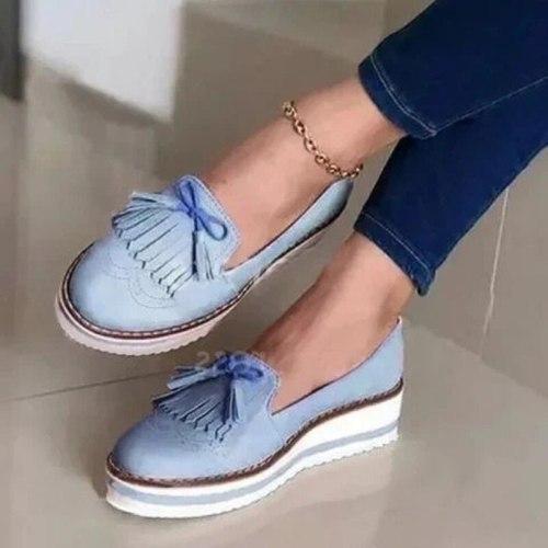 2021 New Women Tassel Bowtie Loafers Woman Slip On Sneakers Ladies Soft PU Leather Sewing Flat Platform Female Shoes All Seasons