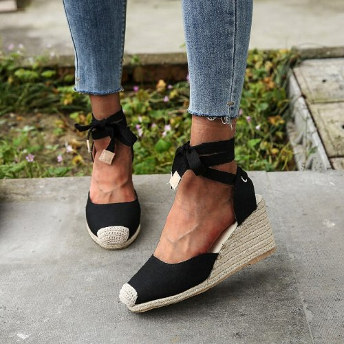 New 2021 Women Sandals Summer Wedge Shoes Buckle Fashion Casual Lace Up Women Shoes Beach Ladies Sandals Sandalias De Mujer