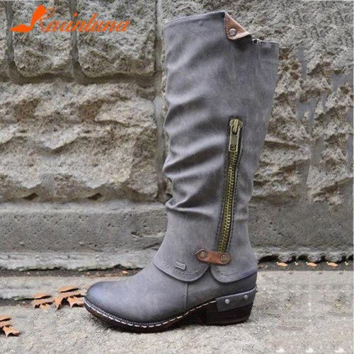 Big Size 36-43 Ladies 2020 Autumn Rivet Daily Boots Round Toe Chunky Heels Zip Women Boots Fashion Women Shoes