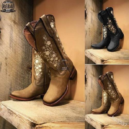 Woman Embroidery Boots Mild-calf Female Casual Low Heels Vintage West Cowboy Autumn Winter Leather Shoes Women's Cowboy Boots