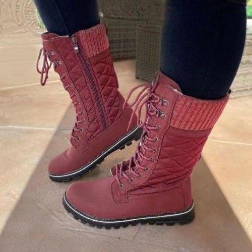 Women White Mid Calf Boots 2021 Ladies Winter Boot Square Heel Black Platform Combat Boots Fur Plush Designer Punk Botas Mujer