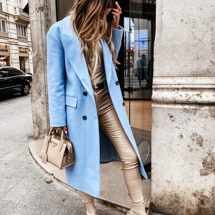 Fashion Single Breasted Lined Pocket Slim Outerwear Autumn Winter Women Solid Casual Long Coat Elegant Lapel OL Commuter Blazer