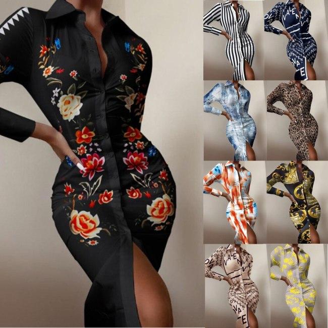 2021 Autumn New Women Long-sleeved Midi Dress Fashion Print Shirt Elegant Ladies Stitch Long Shirt Party Harajuku Dresse