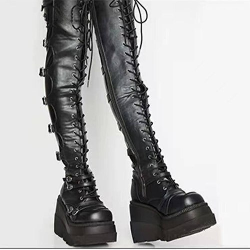 2021 Spring And Autumn Women's Boots Fashion Sexy High Boots Gothic Wind Cool Boots Thick Bottom Slope With Punk Boots