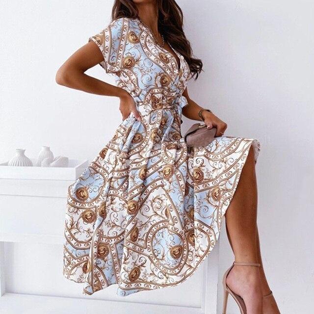 2021 Summer Women Shirt Lace-Up Belt Dress Sexy V Neck Button Short Sleeve Party Dress Vintage Pattern Print A-Line Midi Dresses