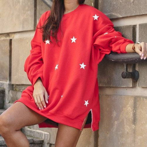 Red Star Letter Print Oversized Sweatshirt Women Crewneck Autumn Winter Casual Loose Pullover Long Sleeve Sweatshirts Sudaderas