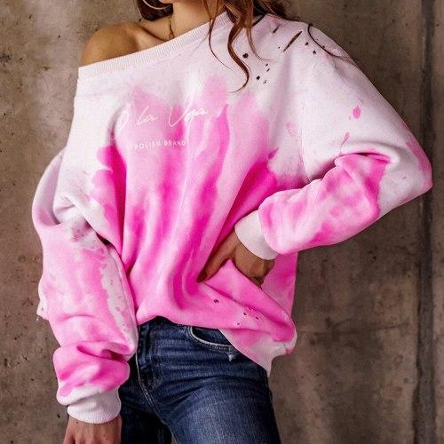 Sweet Tie Dye Print Oversized Sweatshirt Women Casual Loose Autumn Winter Pullover Streetwear Crewneck Sweatshirts Sudaderas