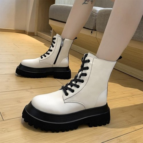 2021 New Women's Boots Autumn Winter Pu Leather Solid Fashion Ladies Shoes Thick Bottom Ankle Boots Comfortable Women Footwear