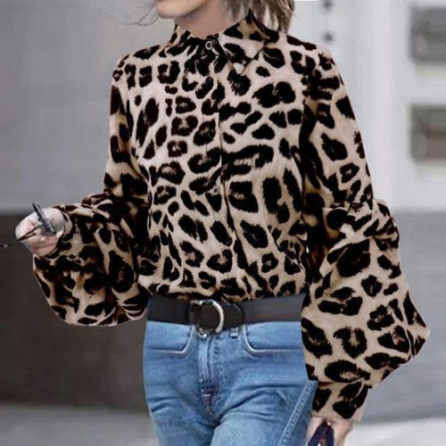 Women Leopard Print Blouse Shirt Vintage Autumn Polka Dot Shirt Button Loose Long Lantern Sleeve Lapel Elegant Office Ladies Top