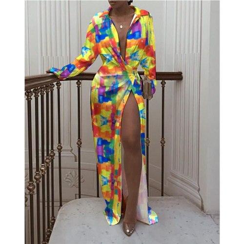 2021 New Sexy Deep V-Neck High Slit Shirt Fashion Patchwork Printed Party Harajuku Dresses Women Autumn Chic Maxi Dress