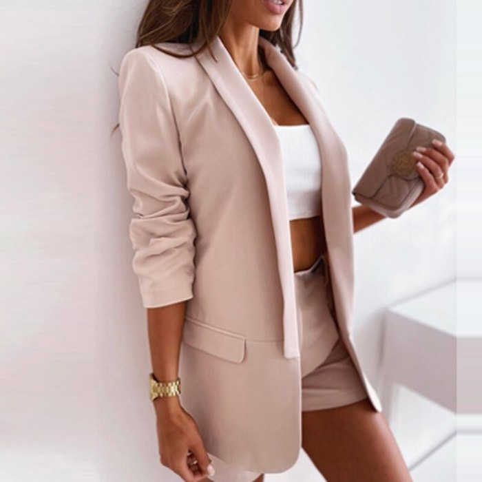 Autumn Office Lady Elegant Solid Blazer Coats Fashion Turn-Down Collar Women Outerwear Spring Casual Simple Long Sleeve Jackets