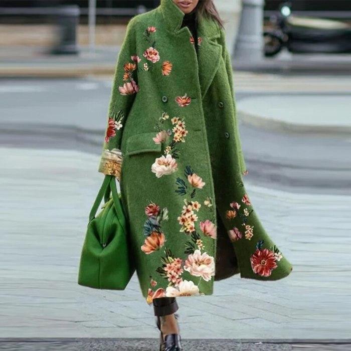 Vintage Long Sleeve Pocket Green Outwear 2021 Autumn Casual Loose Blend Wool Long Overcoat Women Button Cardigan Tops Jackets