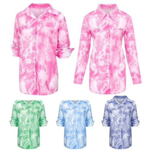 Fashion Women Long Sleeve Turn Down Collar Pocket Tie Dye Office Shirt Blouse Women Hot Sale Button Basic Blouses Fashion tops