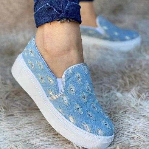 Shoes Plus Size Ladies Fashion Cowboy Hole Leisure Flat Slip On Round Toe Canvas Sneakers Outdoor Walking Casual Shoes