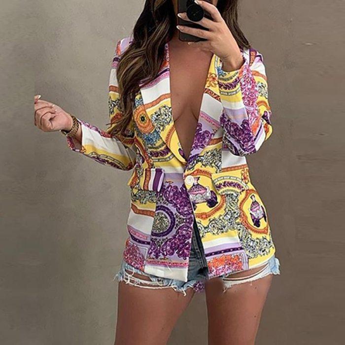 Women Cardigan Suit Jacket Retro Pattern Print Office Lady Slim Blazer Elegant Turn-down Collar Button Fashion Coats Streetwear