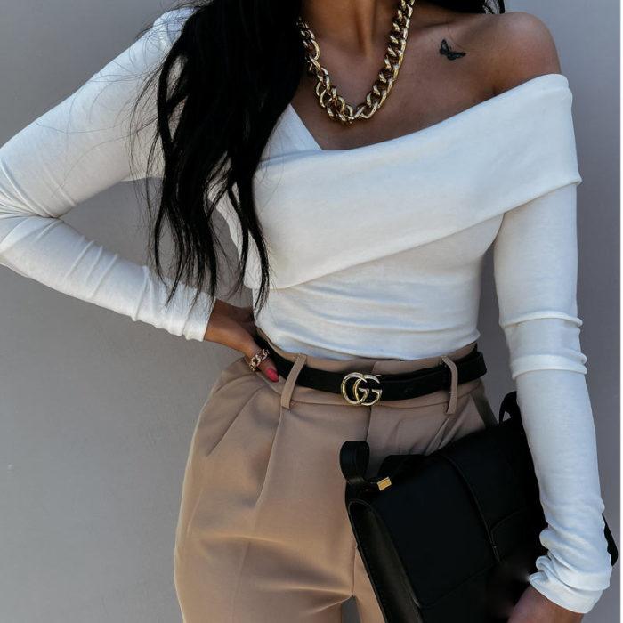 Sexy Backless Streetwear Casual Irregular Blouses Women's Blouse Solid Skew Collar Slim Long Sleeve T-shirt Female Autumn Black