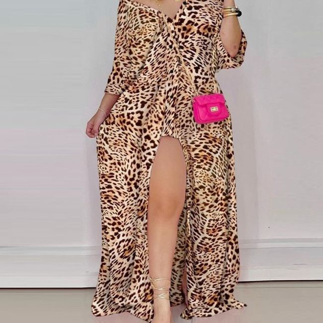 Autumn Loose Striped Shirt Dress Women Fashion V-neck Long Sleeve Loose Striped Print Slit Maxi Dress for Women
