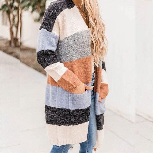 Women Knitted Cardigan Sweater Striped Knitting Long Cardigan Big Pocket Plus Size Winter Warm Streetwear Robe