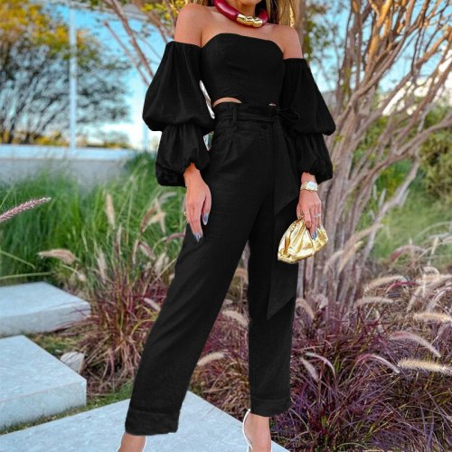 2021 Women  Long Sleeve Solid Cotton Linen Off Shoulder Top Fashion Sexy Casual Pants Two Piece Set
