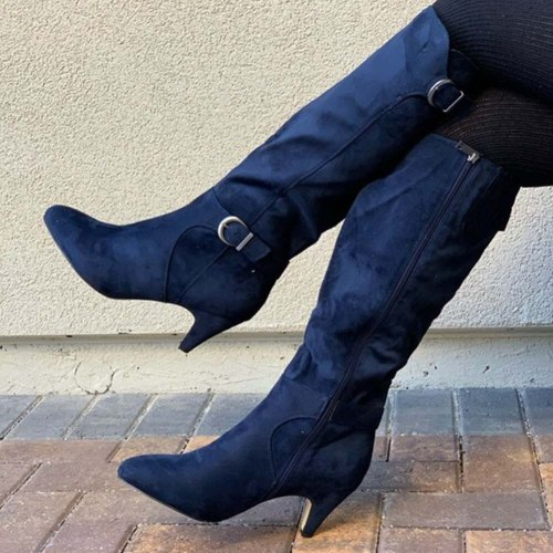 Fashion Solid Concise knee-high Women Shoes Pointed Toe Spike Heel Great Quality Women Boots