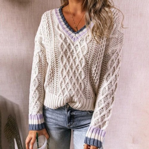 2021 Women Long Sleeve Hollow Out Tops 2021 Autumn Winter V-Neck Knitted Loose Shirt Ladies Fashion Solid Pullover Sweater Mujer