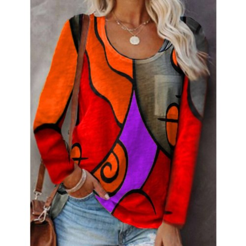 2021 Autumn And Winter New Style European And American Contrast Stitching Geometric Printing Casual Long-Sleeved T-Shirt Women