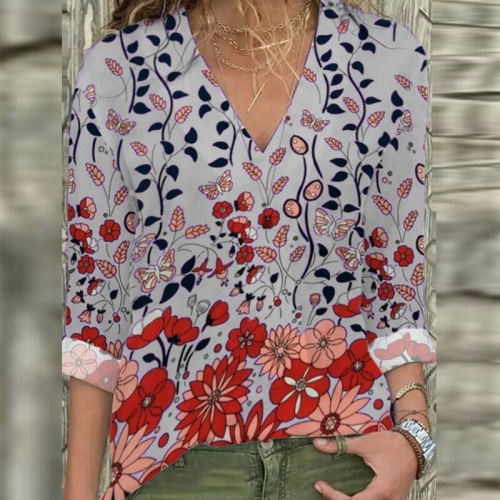Vintage Printed Women Blouse 2021 Autumn Fashion V Neck Long Sleeve Pullover Casual Ladies Office Shirt Loose Female Street Tops