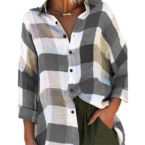 Plaid Shirt Women's 2021 Spring Autumn Fashion New Style Lapel Long Sleeve Loose Temperament Top Trendy 248