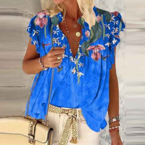 Women Ruffles Casual V-Neck Tops Summer Floral Print Ruffles Casual Shirts Colorful Loose Oversized 5XL Blouse Streetwear Blusa