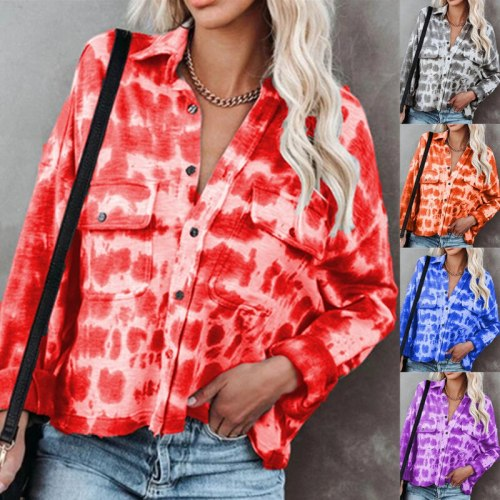 Autumn new style women's tie-dye printing lapel long-sleeved T-shirt top