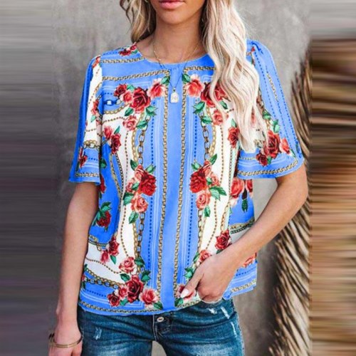 Summer O Neck Short Sleeve Blouse Shirt 2021 Retro Women Floral Print Tops Blusa Casual Female Loose Pullovers Shirts Streetwear