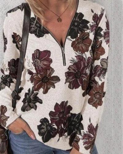 Women Zip Flowers Print Long Sleeve Loose T-shirt Casual New Fashion Autumn Winter Female V-neck Tops Women Plus Size Clothing