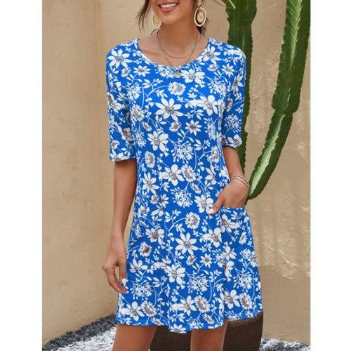 Dress Women Summer 2021 New Europe United States Ladies Round Collar Printed Short Sleeve Mini Dresses Casual Vestidos CHD2029