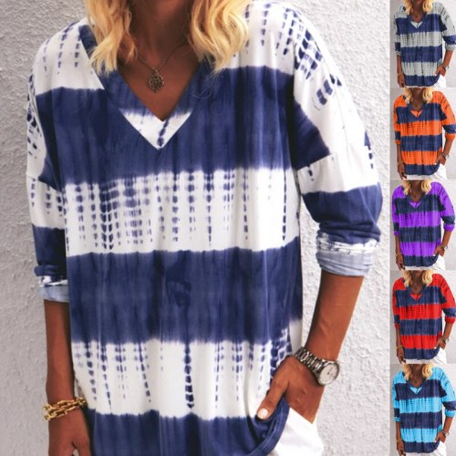 2021 Cotton Autumn Spring Women Shirt Tees Strip Colors Ruffles Long Sleeve Sexy Elegant Tops Plus Sizes Casual T Shirts