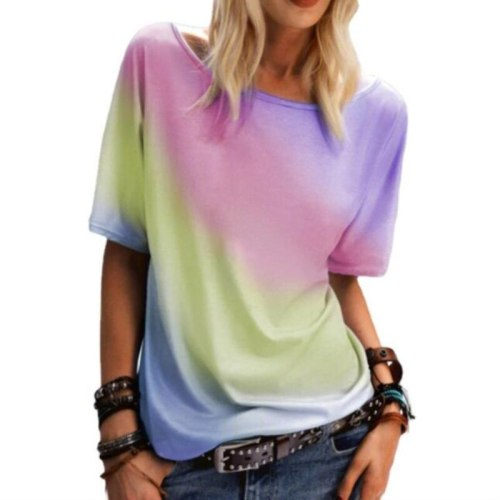 5XL Large Size Rainbow Color Print Women Loose Casual T shirt 2021 New Summer Fashion O-Neck Short Sleeves Top Tees