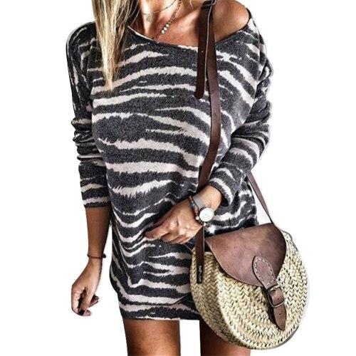 Women Casual Cotton O Neck Striped Mini Dress Spring Long Sleeve Loose Dress Zebra Print T Shirt Dress Oversized