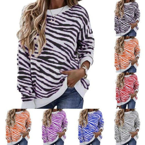 Women's Stripe Printed Clothes Long Sleeve Loose Fashion  Shirt Tops Tee 2021 Summer Holiday Style Round Neck T-shirts Top